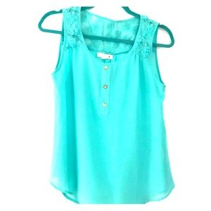 Tops - Mint green tank with rose/lace Work on back